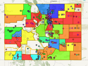 Colorado Food Systems ma with indicators for COVID-19 foodsites