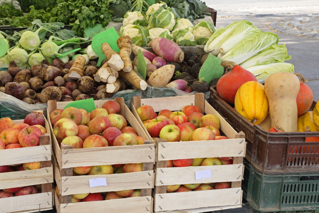 fresh produce in wooden boxes